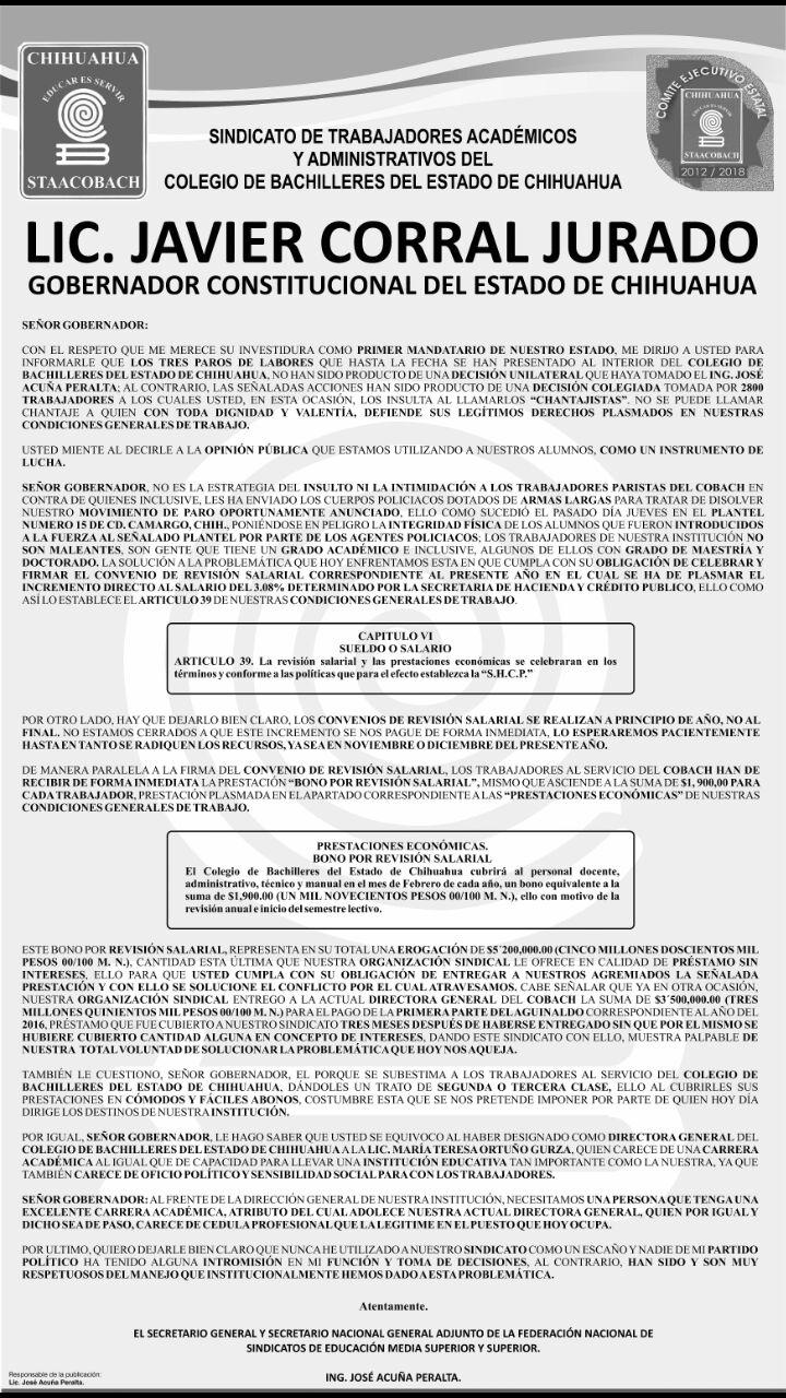 Desplegado cobach chihuahua contra javier corral