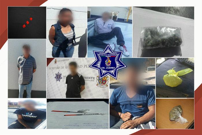 Detienen agentes municipales a siete presuntos narcomenudistas en hechos distintos