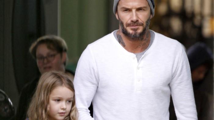 David Beckham enciende debate con beso en la boca a su hija
