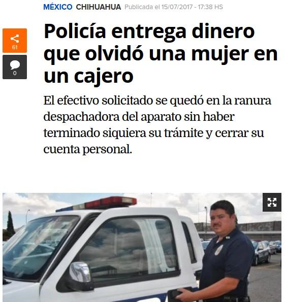 Revuelo nacional por polic a de chihuahua que devolvi for Cuanto dinero se puede sacar del cajero
