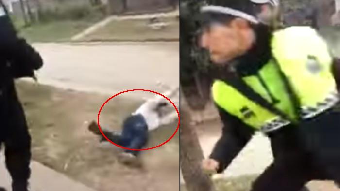 Policia golpea a ebrio