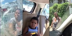 Relacionada mujer ataca auto con martillo con sus hijos dentro