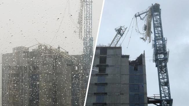 Cayó grúa sobre rascacielos en construcción en Downtown de Miami — Huracán Irma