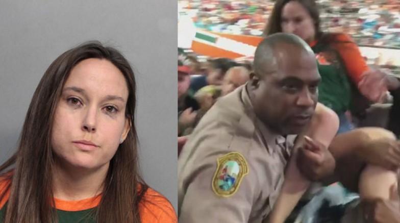 Policía golpea a mujer durante partido de futbol americano