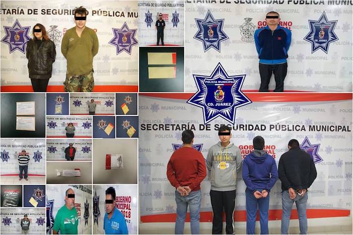 Agentes municipales en diferentes intervenciones detienen a 15 presuntos narcomenudistas