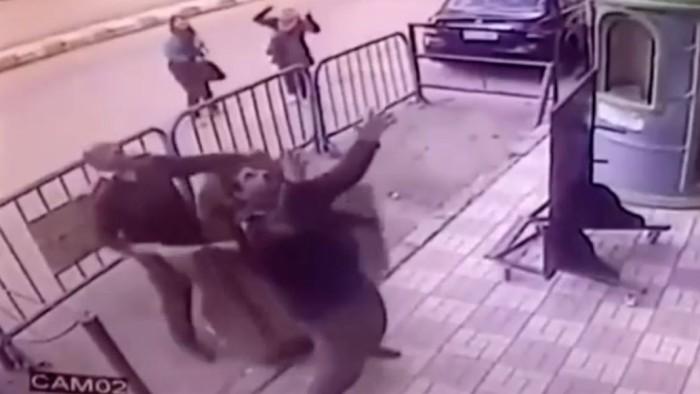 Policías egipcios atrapan a niño que cayó de tercer piso