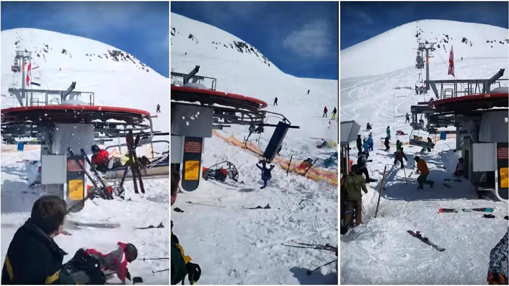 Teleférico a toda velocidad lanzó a esquiadores por los aires