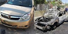 Relacionada robaron y quemaron auto de uber