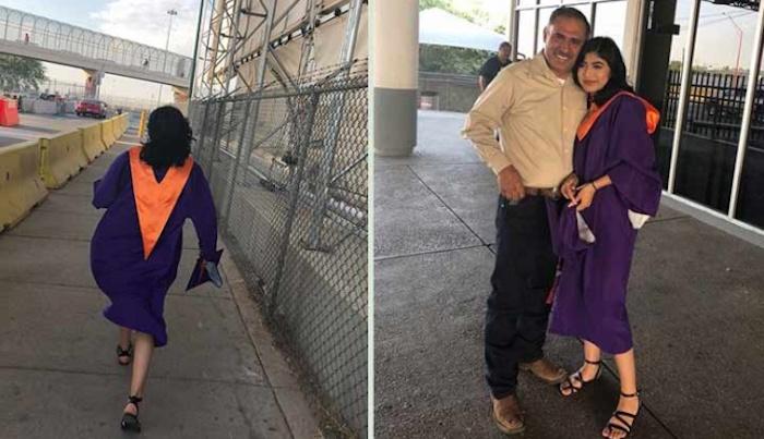 Joven cruza frontera para celebrar graduación con su padre en México