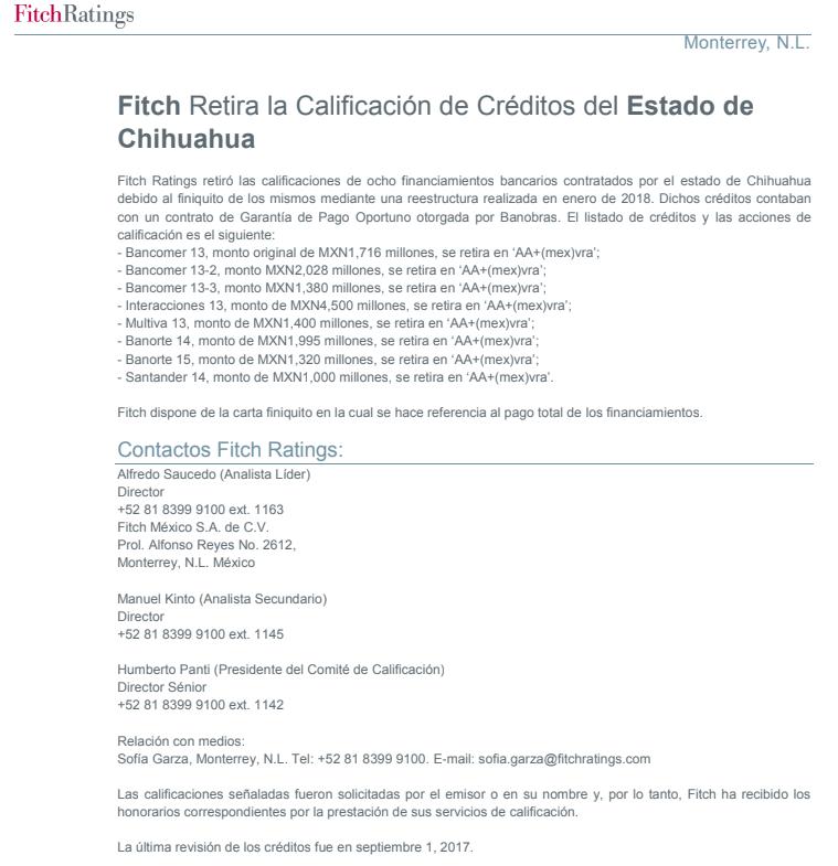 Comunicado fitch