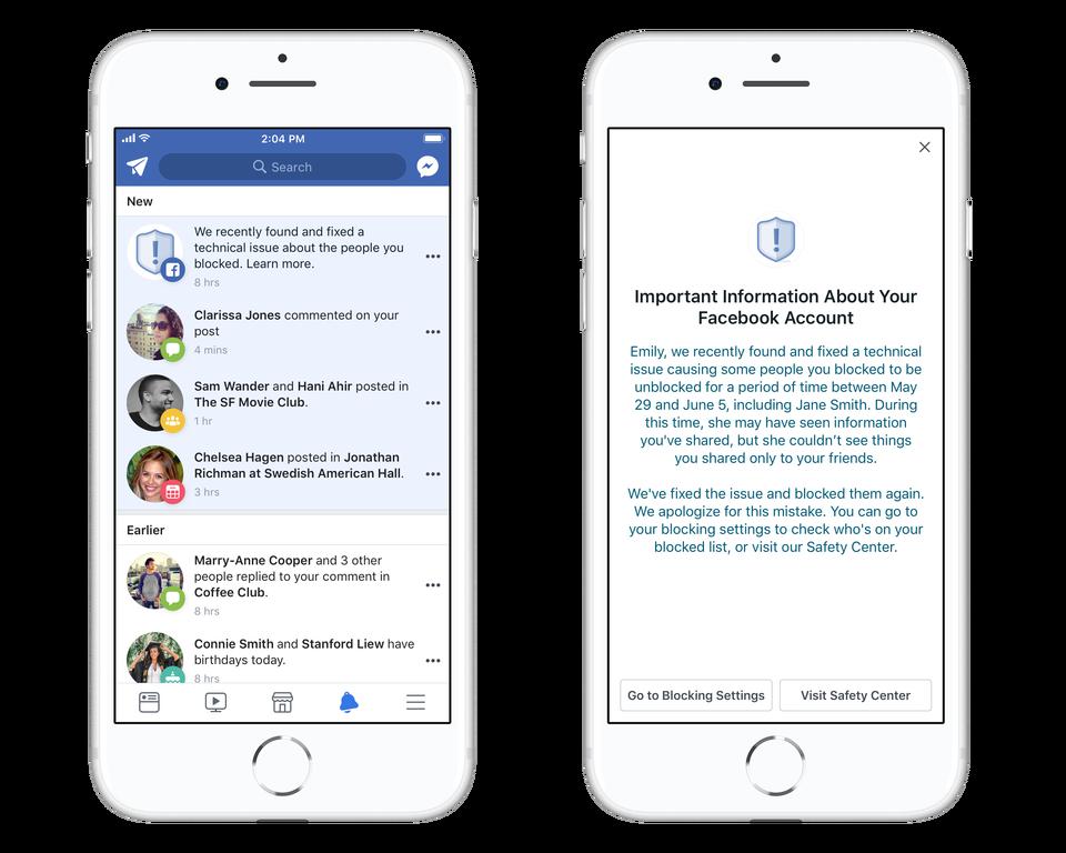 Facebook mil usuarios afectados error