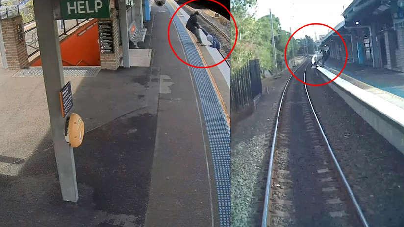 Tren por poco arrolla