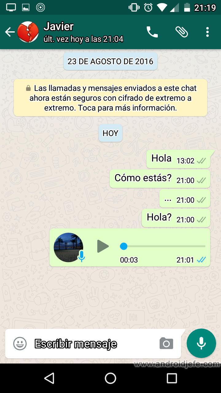 Mensajes vistos whatsapp palomitas desactivadas