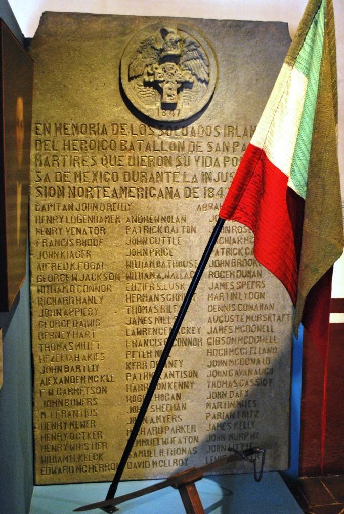 Placa soldados irlandeses de churubusco