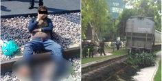 Relacionada tren le corta los pies por tomrase selfie
